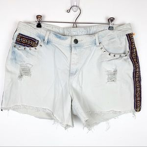 RAIGN EMBROIDERED DISTRESSED SHORTS SIZE 18